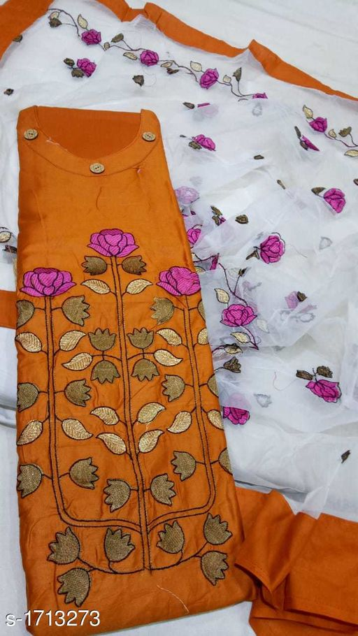 Fashionable Satin Cotton Embroidered Suits & Dress Material