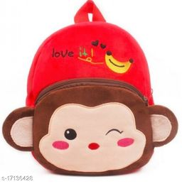 Frantic Velvet Kids School Bag - Red Monkey
