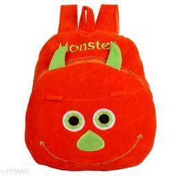 Frantic Velvet Kids School Bag - Orange Monster