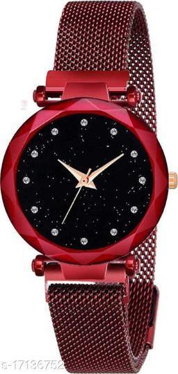 Red Mesh Magnet Strap Magnetic Mesh Strap Analog Watch Girl's watch Analog Watch