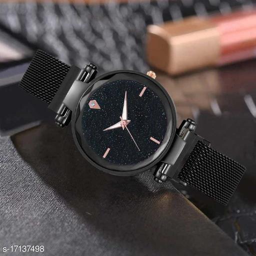4 Diomond Luxury Mesh Magnet Buckle Starry sky Quartz Watches For girls Fashion Clock Analog Analog Watch