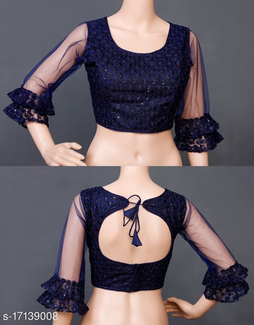 EXCLUSIVE STYLISH LONG NET SLEEVES DESIGN READY MADE ETHNIC BLOUSE