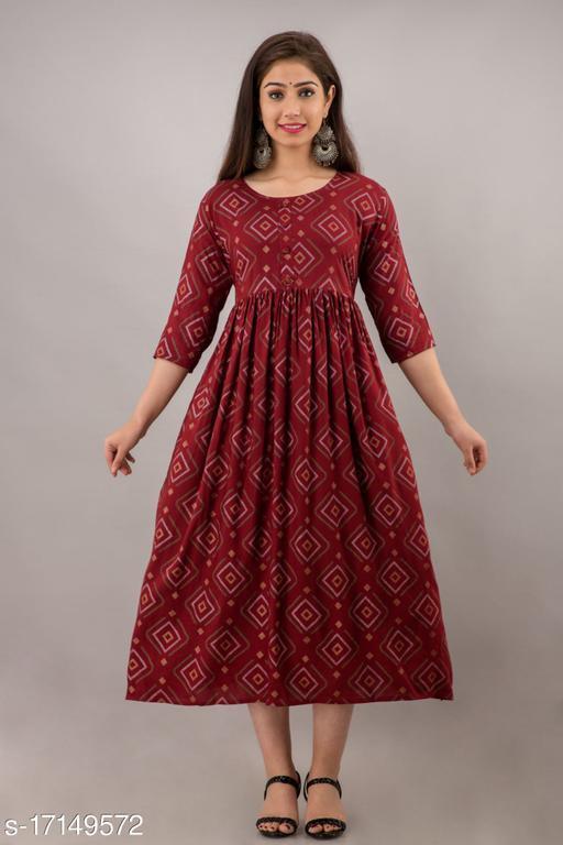 Aditri Women's Trendy Flared Long Rayon Kurta