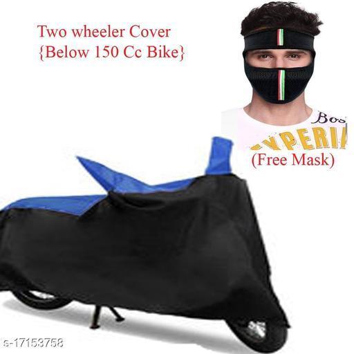 Mobidezire Black & Blue  Bike Cover For Below 150 CC Bikes (free 1 Pc Ninja)