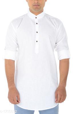 Ocean Men's Attractive Cotton Solid Short Kurta