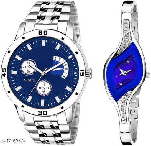 Blue dial metal strap watches for couple