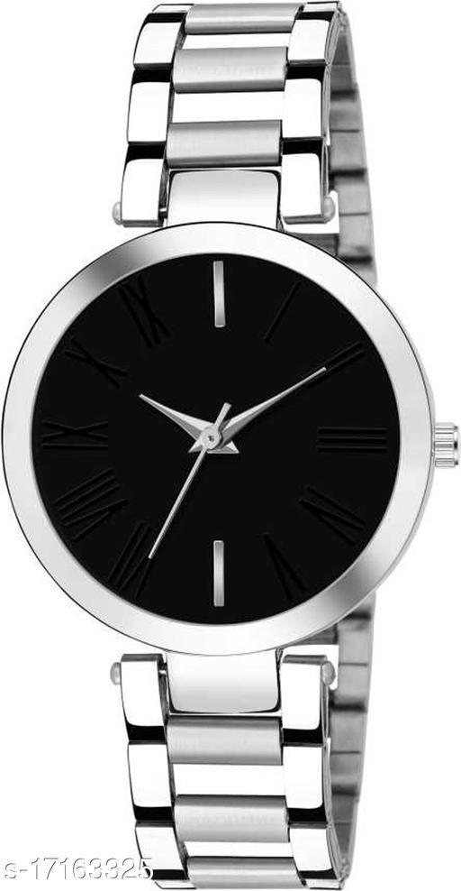 Attractive design mettalic strap black dial watch for girls
