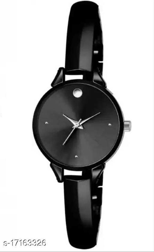 mettalic strap black watch for black lover Girls