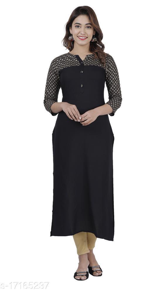 Women printed rayon Straight Kurta  (Black)