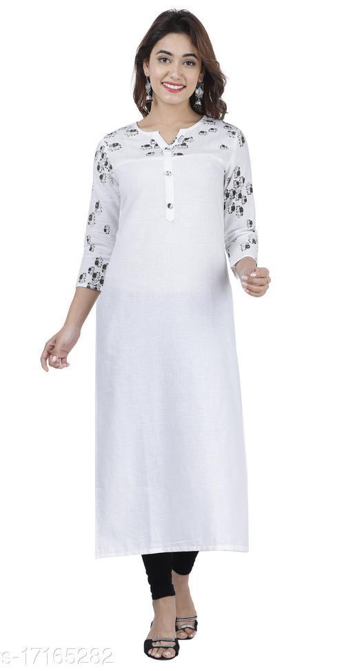 Women printed cotton Straight Kurta  (white)