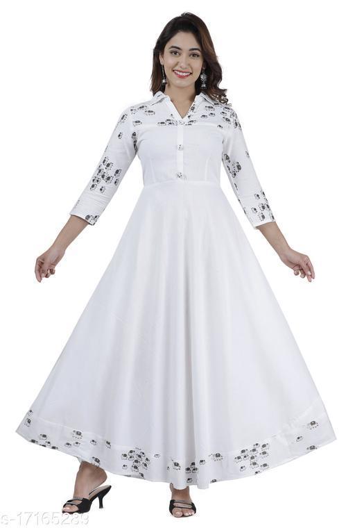 Women Printed  cotton Blend Flared Kurta  (white)