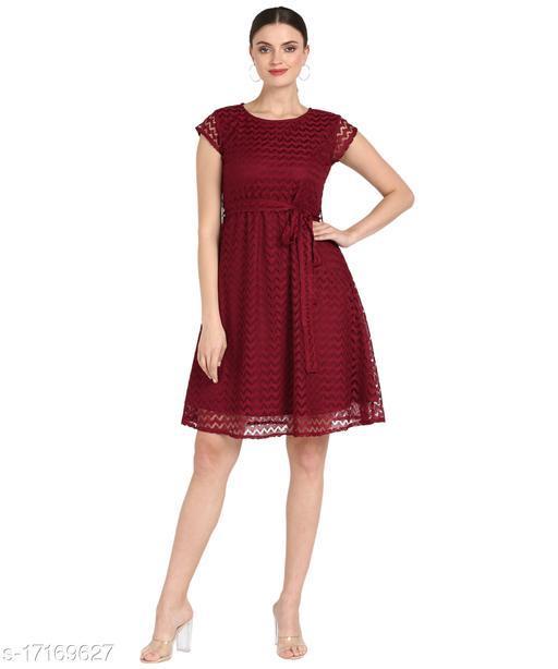 Serein Women's Midi dress ( Maroon colored Lace dress with round neck,  Waist belt & short sleeve)