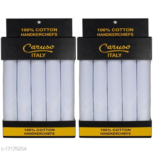 Caruso Italy Men's Premium 100% Pure Cotton Handkerchief White Self Border - Pack of 10