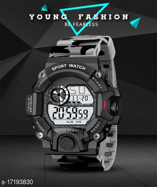 IIK Collection Digital Dial & Grey Army Design Strap Sports Men's & Boy's Watch (IIK-DG-014-Grey)