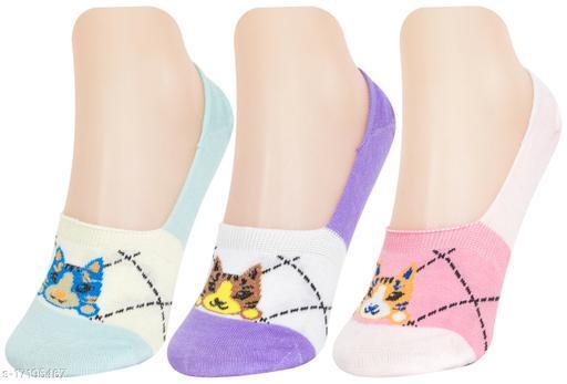 Neska Moda Women 3 Pair Cotton Animal Print No Show Loafer Socks (Purple,Light Blue,Pink)-MFN-S1579
