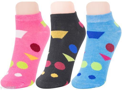 Neska Moda Women 3 Pair Cotton Ankle Length Socks (Blue,Black,Pink)