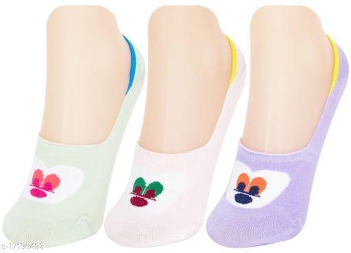 Neska Moda Women 3 Pair Cotton Animal Print No Show Loafer Socks (Purple,Light Green,White)-MFN-S1584