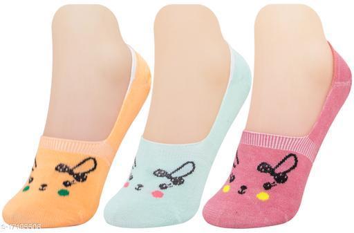 Neska Moda Women 3 Pair Cotton Animal Print No Show Loafer Socks (Orange,Green,Maroon)-MFN-S1574