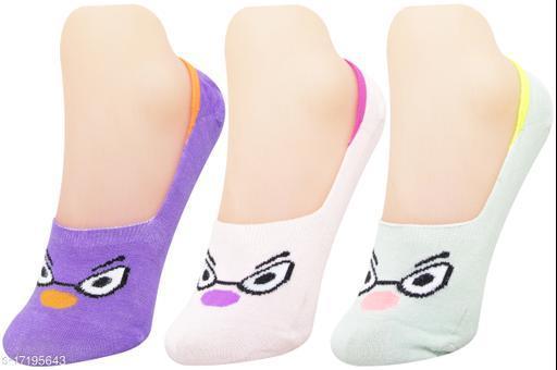 Neska Moda Women 3 Pair Cotton Animal Print No Show Loafer Socks (Purple,Beige,Green)-MFN-S1577
