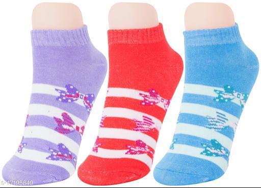 Neska Moda Women 3 Pair Cotton Ankle Length Socks (Red,Blue,Purple)
