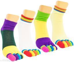 Neska Moda Women 4 Pair Cotton Ankle Length Thumb Antislip Yoga Socks (Green,Purple,Yellow)