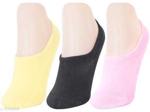 Neska Moda Women 3 Pair Terry Cotton No-Show Socks (Yellow,Pink,Black)