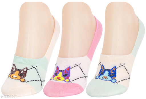 Neska Moda Women 3 Pair Cotton Animal Print No Show Loafer Socks (Pink,Light Blue,Green)-MFN-S1580
