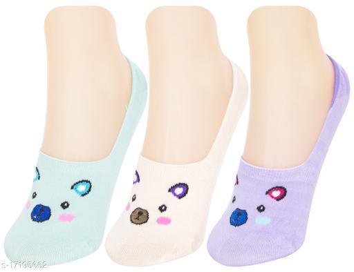 Neska Moda Women 3 Pair Cotton Animal Print No Show Loafer Socks (Purple,White,Blue)-MFN-S1585
