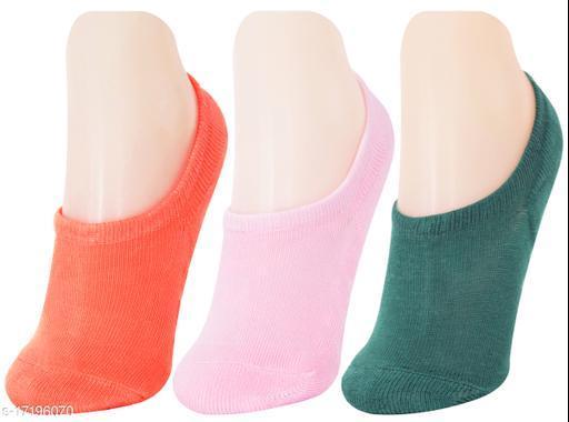 Neska Moda Women 3 Pair Terry Cotton No-Show Socks (Pink,Orange,Green)