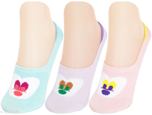 Neska Moda Women 3 Pair Cotton Animal Print No Show Loafer Socks (Purple,Light Blue,Pink)-MFN-S1583