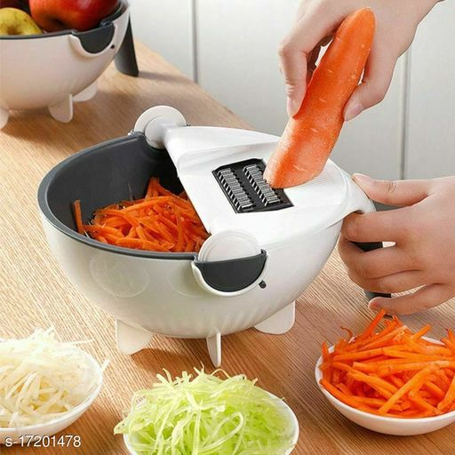 Multi Functional Magic Rotate Vegetable Cutter Veggie Shredder with Drain Basket (Multicolour)