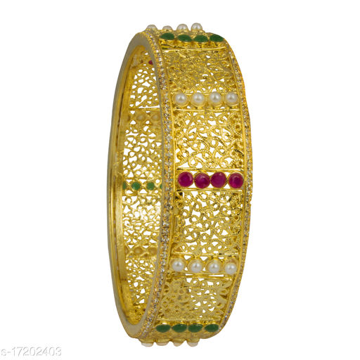 Piah  Fashion dazzling   red green beads with  white moti  Gold Plated Brass Bangle  For Woman & girls