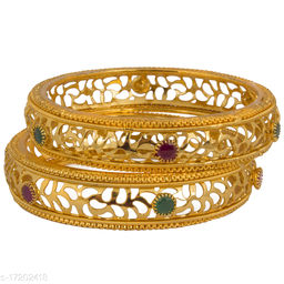 Piah   Fashion well formed  red  & green  stone   Gold Plated Brass Bangles  For Woman  & girls