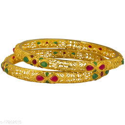 Piah  fashion  sightly  red  & green  stone   Gold Plated Brass Bangles   For Woman  & girls