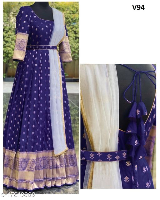 Exceptional Navy Blue Colored Partywear Woven Organza Gown With Dupatta
