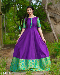 Gleaming Dark Violet colored with Jacquard less floor touch gown