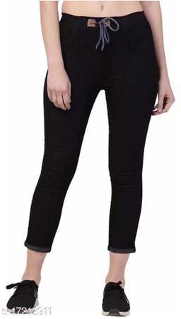 Flying Trendy Joggers Fit Women Black Denim Classy Jeans For Girls