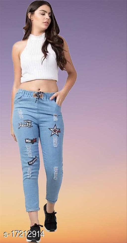 Flying Trendy Joggers Fit Women Blue Denim Classy Jeans For Girls