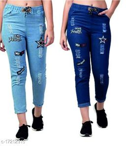 Flying Trendy Joggers Fit Women Denim Classy Blue combo Jeans For Girls (pack of 2)