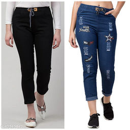 Flying Trendy Joggers Fit Women Black Denim Classy Blue combo Jeans For Girls (pack of 2)
