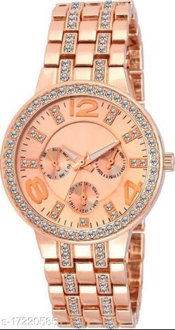 Miss Perfect 013crystal studded chronograph bracelet strap beautiful women Watch Analog Watch - For Women
