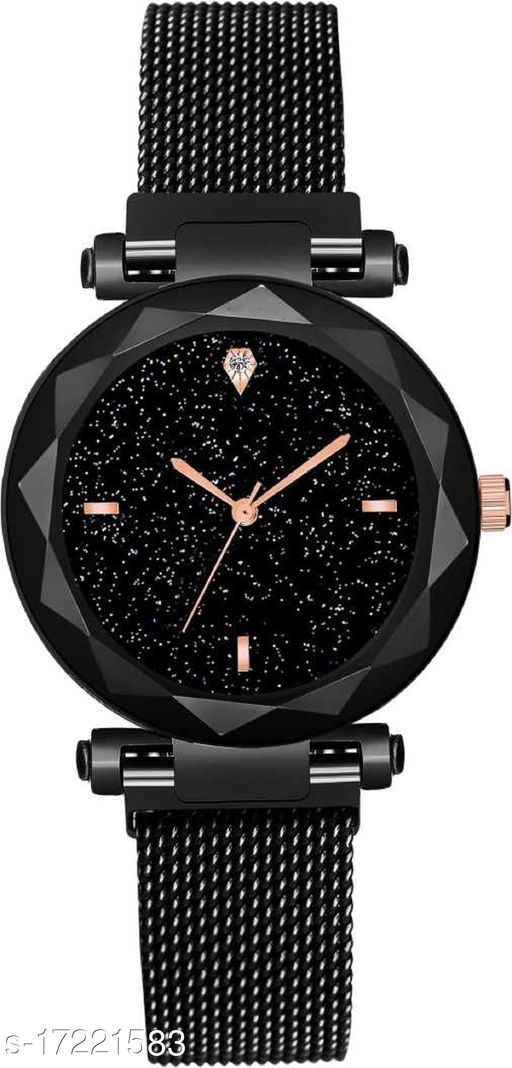 Magnetic Strap Sparkling Diamond Cat Black Magnetic Strap Luxury Analog Wrist watch-For Girls Magnetic Buckle Strap Analog watch -For Girls Analog Watch