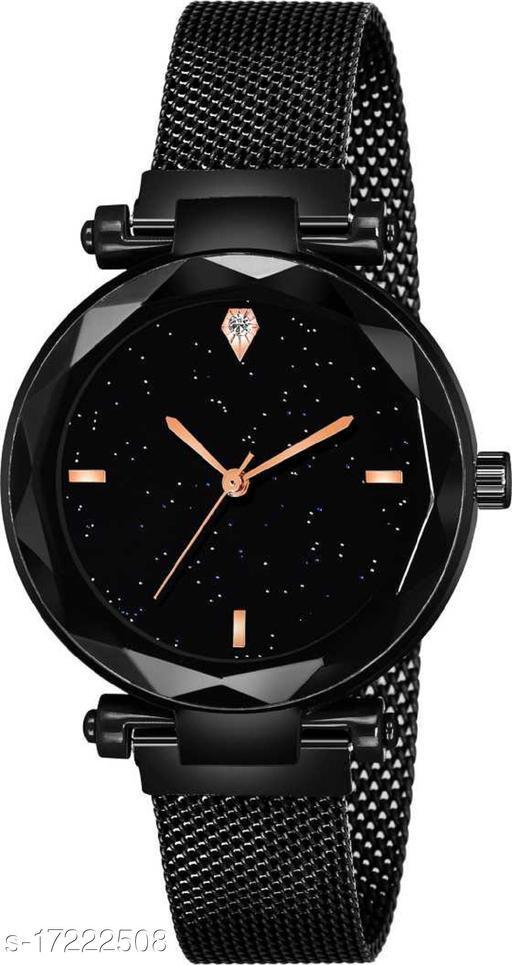 Luxury Mesh Magnet Buckle Starry sky Quartz Watches For girls Fashion Clock Analog Watch