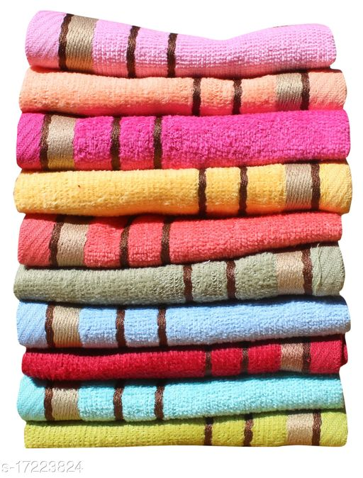 Mandhania Bitra 350 GSM Preimium Cotton Super Absorbent, Antibacterial Treatment Face Towels, 10x10 in Pack of 10 - Multicolor