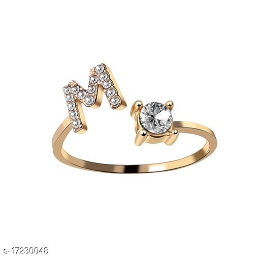 Arzonai Women Adjustable Golden Alphabet A - Z Letters Stackable Open Rings Charm Ring Initial Letter Ring