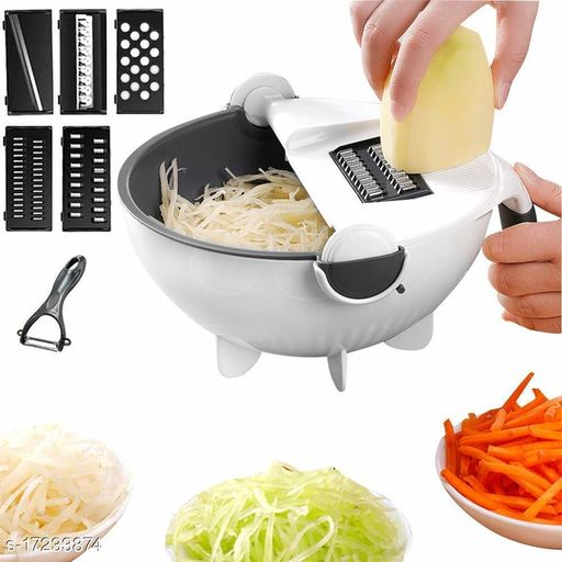 krishvi Multi Functional Magic Rotate Vegetable Cutter Veggie Shredder with Drain Basket (Multicolour)