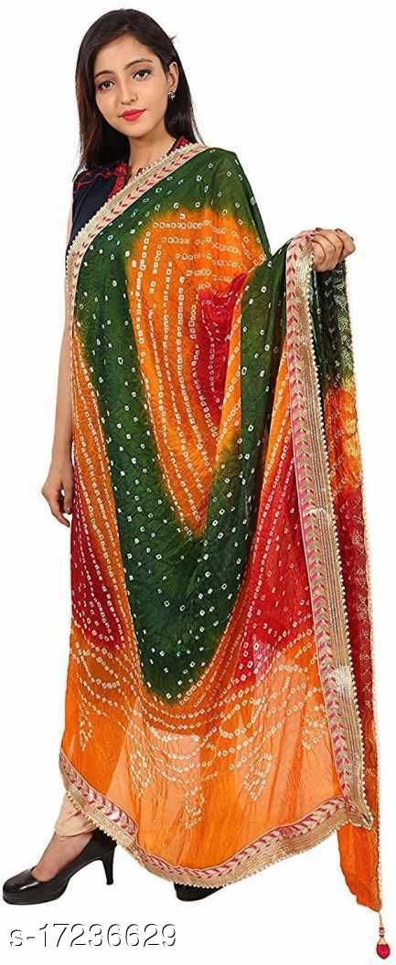 Art Silk Printed Bandhej Dupatta with Gota Patti Lace Border 2.25M for Women's and Girl's