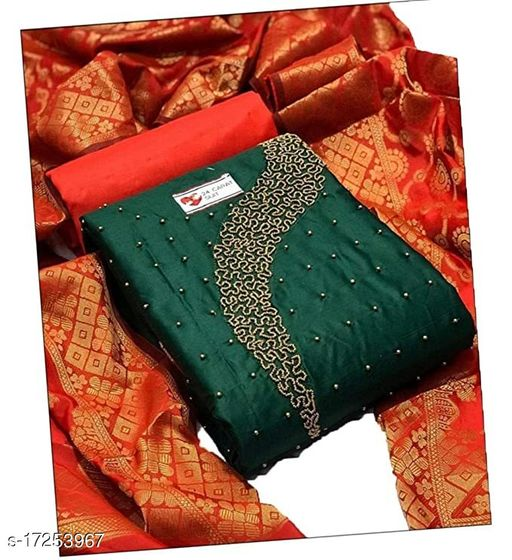 Women's jacquard Cotton Salwar Suit With Chanderi Embroidery Work Dupatta Unstitched Dress Material