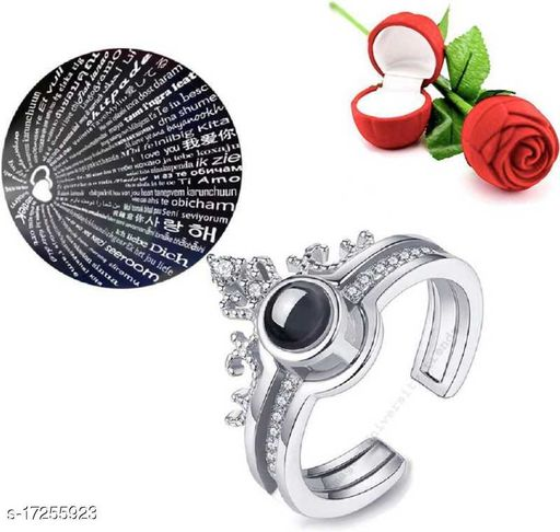Couple Rings for lovers Silver Plated Adjustable Couple Ring with 1 Piece Red Rose Gift Box for Boys and Girls Alloy Ring Set Alloy Silver Plated Ring