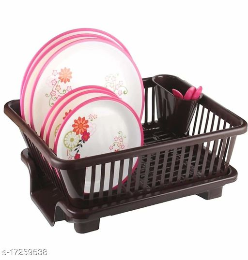 RANIC WORLD Multipurpose 3 in 1 Durable Plastic Kitchen Sink Drainer Drying Rack Washing Basket with Tray for Kitchen,  (coffee)